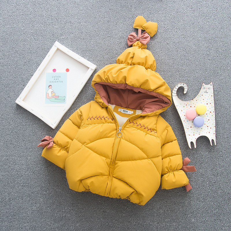 Winter Infant Girl Hooded Snowsuit Toddler Pure Color Thicken Cotton Coat Newborn Girls Zipper Warm Outerwear Kids Casual Jacket