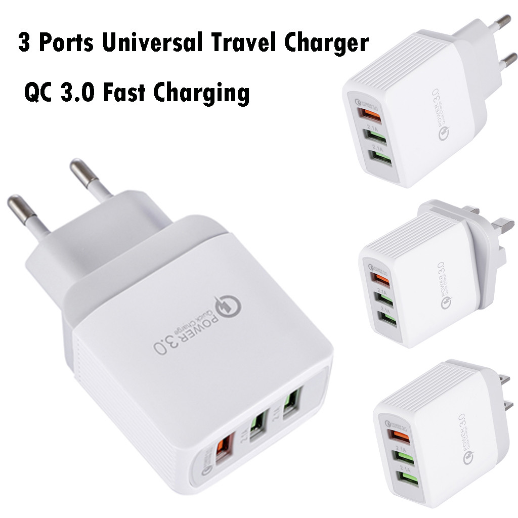 Travel Adapter With Usb Universal US/EU Plug Quick Charger Plug 3 Port Fast Charging Quick Q C 3.0 USB Hub Wall Charger 18W