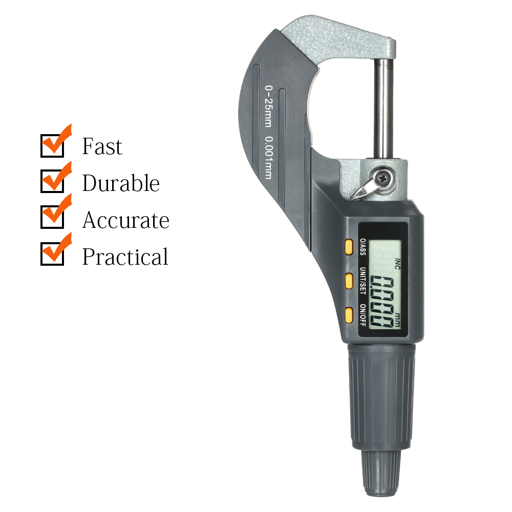Digital Micrômetro 0-25mm 0.001mm Alta Precisão Eletrônica