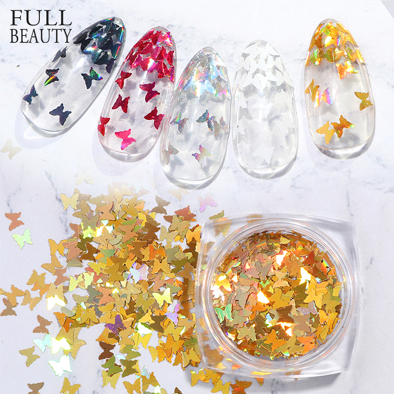 3D Butterfly Gold Silver Flakes Holographic Nails Mirror Sequins Paillette For Nail Art Decoration Sticker DIY Studs CHHD01-05