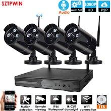 8CH الصوت نظام الدائرة التلفزيونية المغلقة اللاسلكية NVR SYTEM 2.0MP 4 قطعة الأشعة تحت الحمراء في الأماكن المغلقة في الأماكن المغلقة P2P واي فاي CCTV الأمن نظام الكاميرا مراقبة طقم NVR