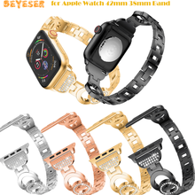 new stainless steel 7 points watch band for apple watch 38mm 42mm iwatch strap black silver rose gold butterfly clasp bracelet New Luxury Watchband for Apple Watch 42mm 38mm Band Gold Stainless Steel Beads for iwatch 1 2 3 Series Strap Steel Bracelet Belt