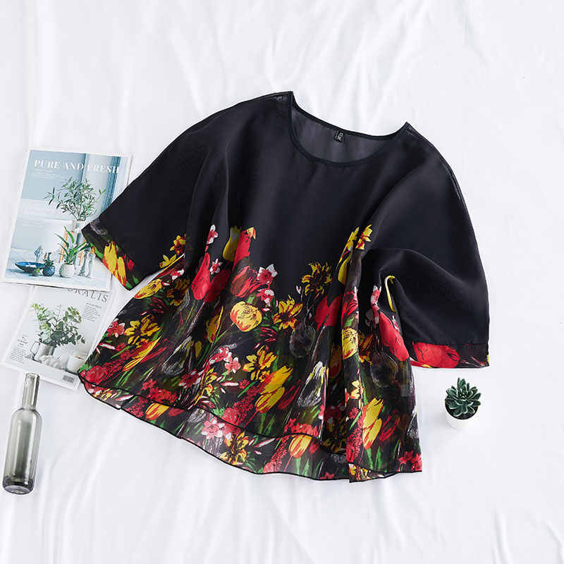 DIMANAF-Blouse en mousseline de soie grande taille, chemise élégante, tunique en mousseline, imprimé Floral, vêtements fins, nouvelle collection, été montre de sport
