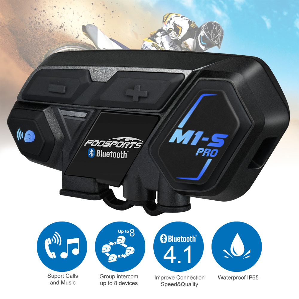 Fodsports Headset-Intercom Interphone Helmet Motorcycle Bluetooth 8-Riders M1-S-Pro Wireless title=