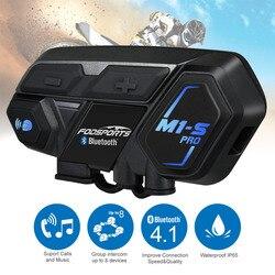Fodsports kask motocyklowy z Bluetooth zestaw słuchawkowy z interkomem dla 8 zawodników M1S Pro wodoodporny bezprzewodowy intercomunicador Interphone MP3 w Słuchawki do kasku od Samochody i motocykle na