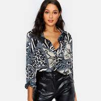 Femmes Blouses Sexy léopard Blouse chemise à manches longues bureau chemise 2019 mode automne décontracté Vintage hauts Chemisier Femme