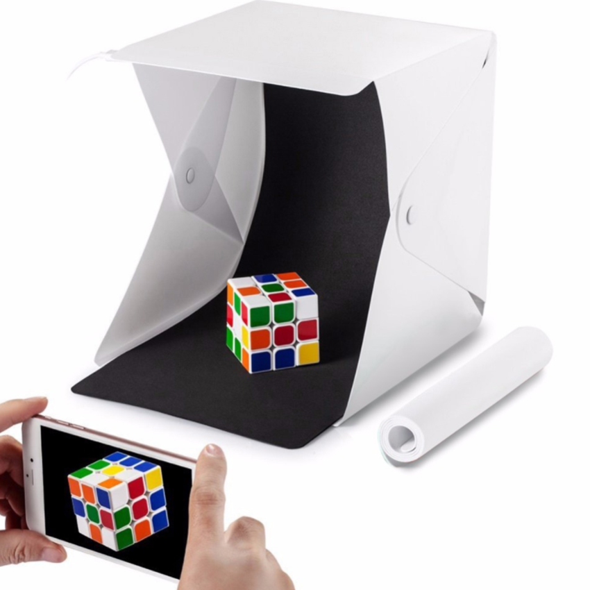Dual LED Panels Portable Folding  Lightbox Photography  Studio Light Tent Soft Box Backdrops For Digital DSLR Camera