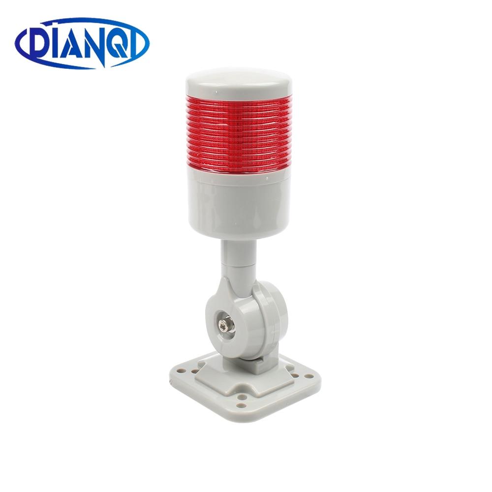 1 Layer Rotatable 180 Stack Light Red Warning Light Industrial For CNC Machine DC 24V 12V AC 220V 110V Steady Flashing Light LED