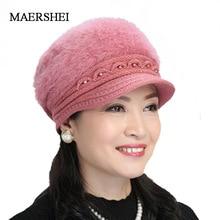 Winter Hat Rabbit-Fur-Cap Beret-Hats Beanies Knitted Women Ladies New Warm for Fashion