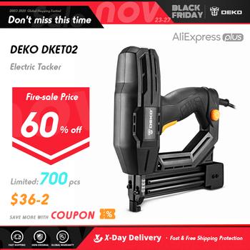 DEKO DKET02  Electric Tacker and Stapler Furniture Staple Gun for Frame with Staples & Woodworking Tool 1