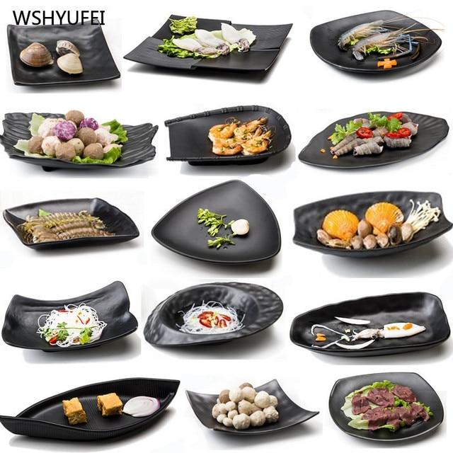 2pcs melamine irregular tray dinner dishes pastry snack sushi steak fish dish kitchen supplies