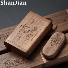 Shandian logotipo livre de madeira + caixa usb 2.0 pen drive 4gb 16gb 32gb 64gb 128gb flash drive memória vara fotografia casamento presente