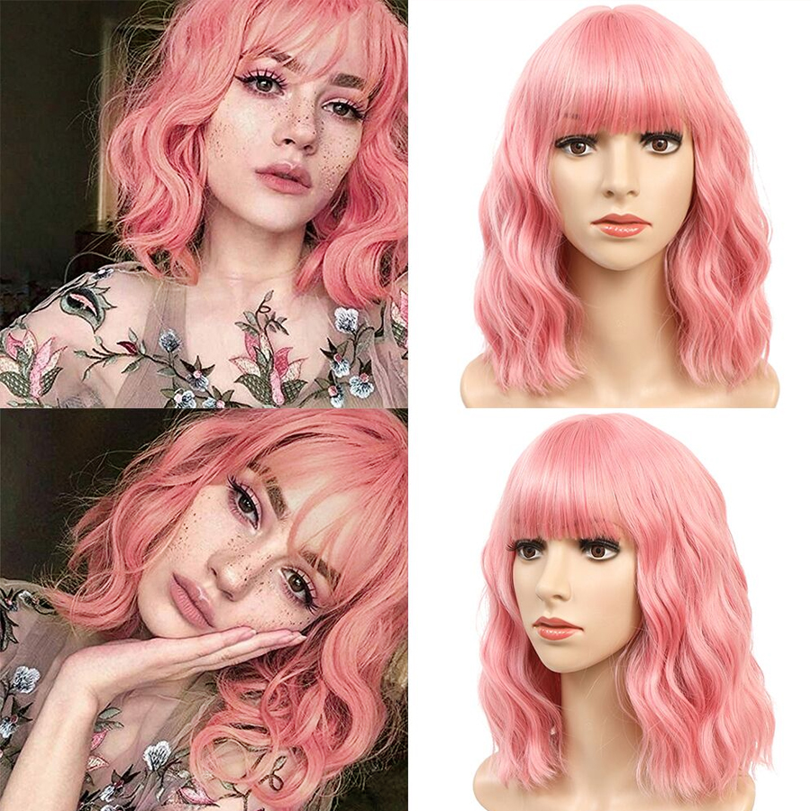 Alynn Короткие вьющиеся парики боб синтетический парик розовый/фиолетовый парик с челкой для женщин афроамериканский термостойкий косплей Л...