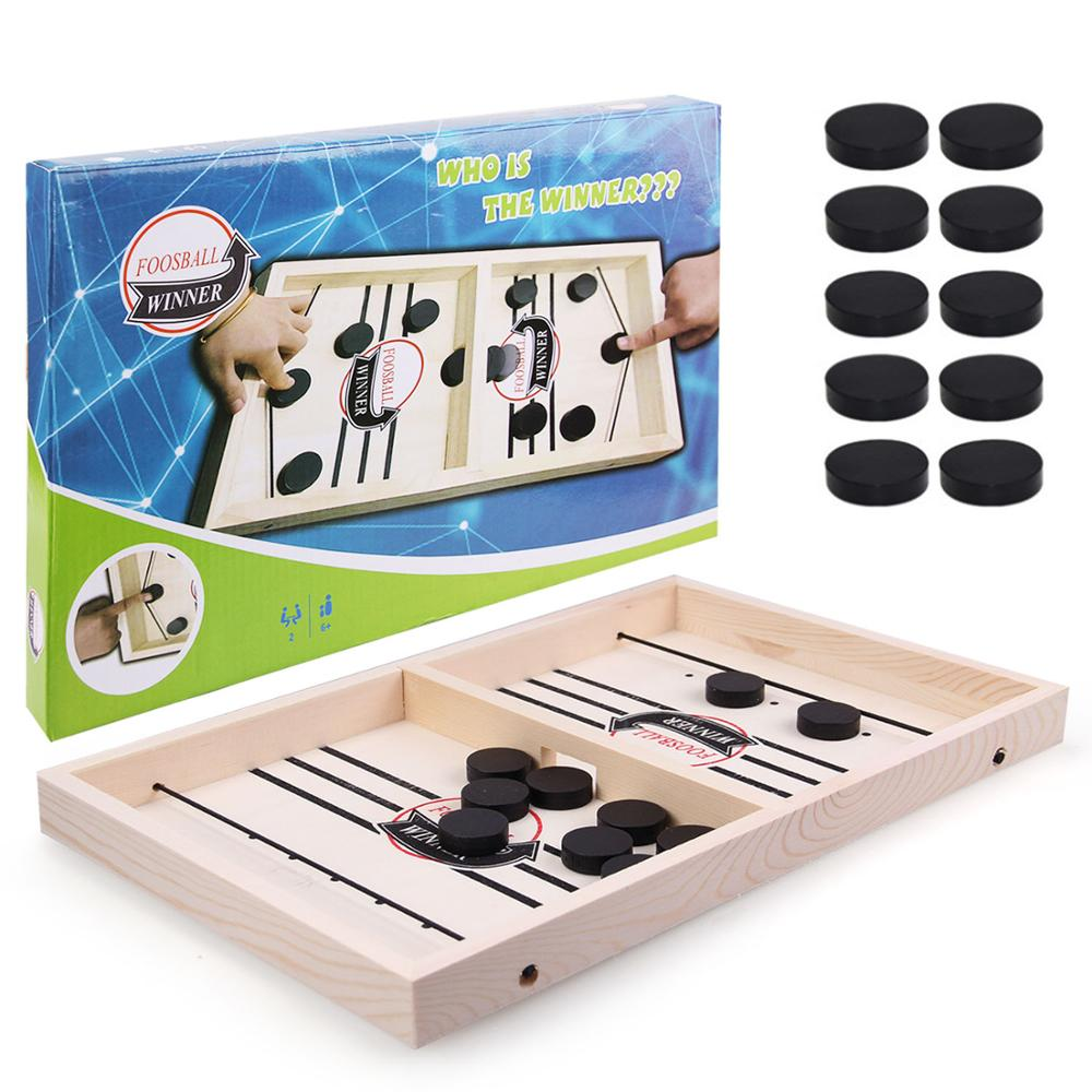 Wooden Slingpuck Game Fast Hockey Sling Puck Game Paced Slingpuck Board Game Parent-child Interactive Toys Children Party Games