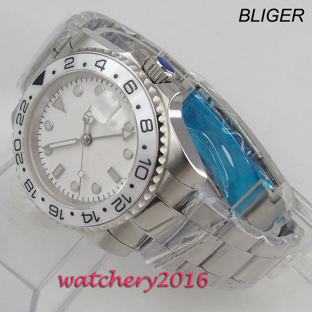 Free Shipping 40mm classic White dial BLiger luminous makrs GMT Automatic movement Mechanical Watches Sapphire mens watch Mechanical Watches     - title=