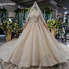 HTL825 shiny wedding dresses with sleeves special sweetheart off shoulder plus size wedding gowns with glitter veil trouwjurk