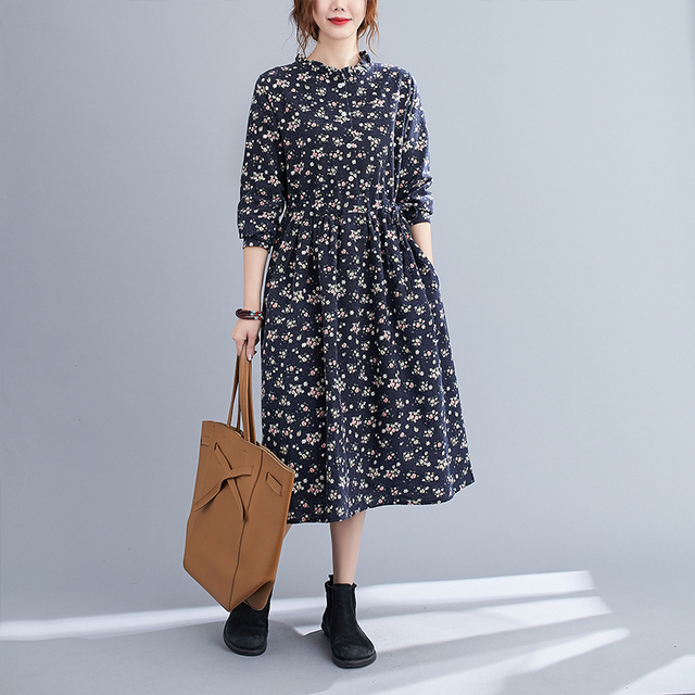 Uego Fashion Autumn Dress Linen Cotton Print Floral Prairie Chic Vintage Dress Drawstring Slim Women Casual Spring Midi Dress 4