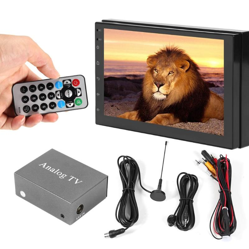 VODOOL <font><b>Car</b></font> DVD Mobile Digital <font><b>TV</b></font> Box Mini Vehicle <font><b>Car</b></font> Monitor PAL NTSC <font><b>TV</b></font> Analog Receiver Tuner With Antenna Remote Control Kit image