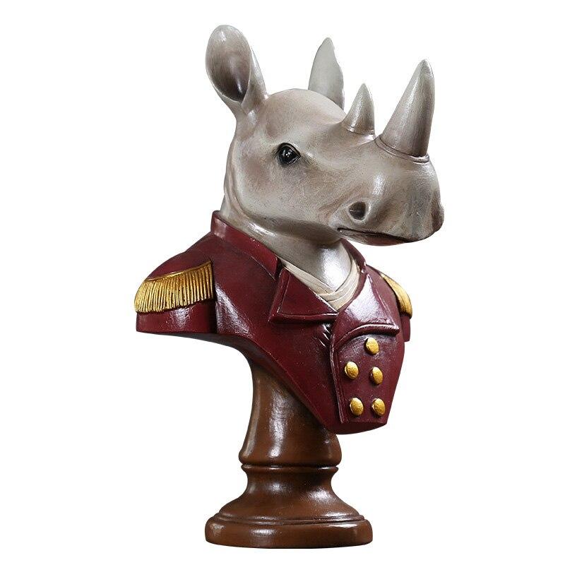 European Rhino Head Statue Resin Figurine Modern Art Sculpture TV Cabinet Desktop Ornament Home Decoration Accessories Gift