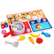Wooden Toys Kitchen Gas Stove Toy Children'S Play House Toys Puzzle Early Education Aid Gifts for Children Learning mothergarden kids wood playhouse toy gas burner set stove wooden puzzle game kitchen toys page 5