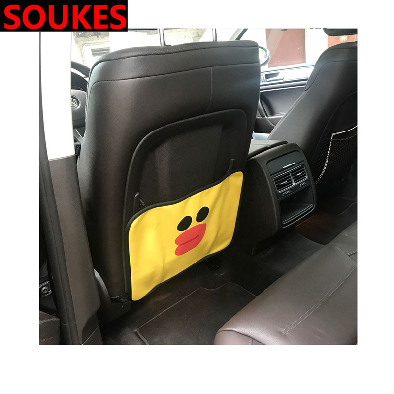 Cartoon Car Seat Child Anti kick Mat Cover For <font><b>Mitsubishi</b></font> ASX Lancer 10 9 Outlander Pajero Suzuki Swift Grand Vitara SX4 image