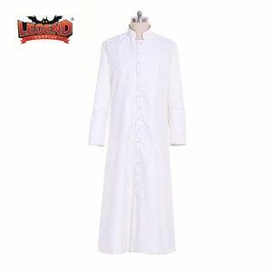 Римский белый жрец Cassock халат платье клергимен Vestments средневековый обряд готический, колдун костюм белый жрец халат Косплей