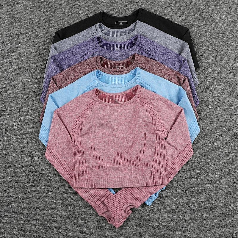 Camiseta de Fitness sem Costura de Manga Longa Gymyoga Camisas Esportivas Polegar Buraco Colheita Topo Feminino Mulher Esporte Camisa Treino Topos