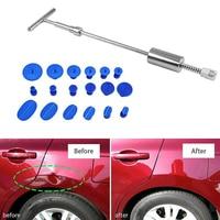 Paintless Dent Repair Puller Kit Car Dent T Bar Slide Hammer with 18 Glue Puller Tabs for Vehicle SUV Body Hail Damage Remover