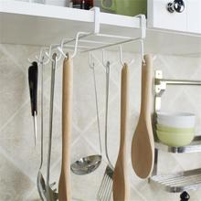 Nail-free Wine Coffee Cup Rack Kitchen Seamless Metal Hanging Tools Holder Partition Towel Hang Storage Rackers With 8 Hooks