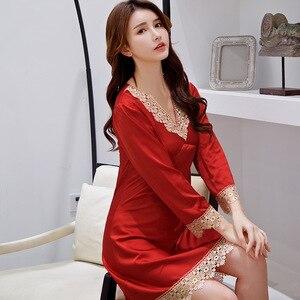 Image 2 - 2020 yaz bayan gece elbisesi dantel Trim Mini gecelik saten pijama v yaka gecelik rahat ev sabahlık sabahlık