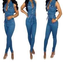 Женский синий Летний джинсовый комбинезон без рукавов повседневный