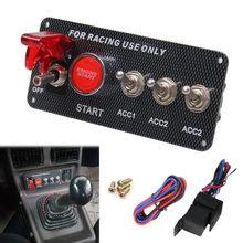 Painel de acessórios para carro 12v, painel de interruptor de ignição com led, botão de início, conjunto universal para 12v & carro de corrida