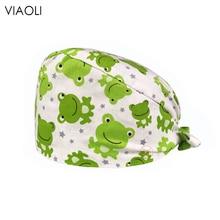 Print-Hat Scrub-Caps Frog Salon Laboratory Beauty Quirurgico Green Gorro Cotton Adjustable