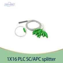 Divisor PLC SC/APC 15 20 30 unids/lote 1X16 SM 0,9mm PVC G657A 1m FTTH divisor de fibra óptica precio al por mayor