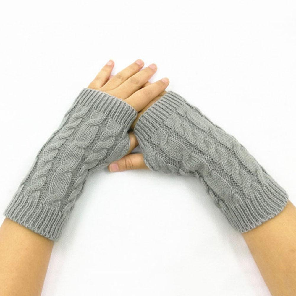 Women Winter Wrist Arm Warmer Short Solid Color Fingerless Gloves Knitted Fingerless Gloves Mitten Gift нарукавники