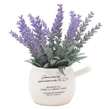 1Pcs Artificial Plants Bonsai Lavender Pot Plants Fake Flowers Mini Potted Green Plant Home Decoration Hotel Garden Decor Bonsai