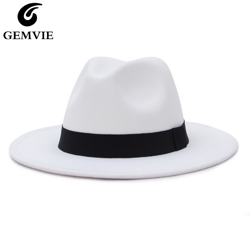 GEMVIE New Wide Brim White Fedora Hat For Women Wool Felt Hats For Men Fall Winter Panama Gamble Jazz Cap Striped Black Band