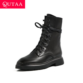 QUTAA 2021 Square Middle Heel Women Pumps Autumn Winter Casual Lace Up Ankle Boots PU Leather Round Toe Ladies Shoes Size 34-42 - discount item  47% OFF Women's Shoes