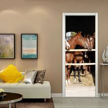 Creative environmental protection horse 3D door stickers refurbished self-adhesive bedroom wall stickers tanie tanio Nowoczesne Zwierząt