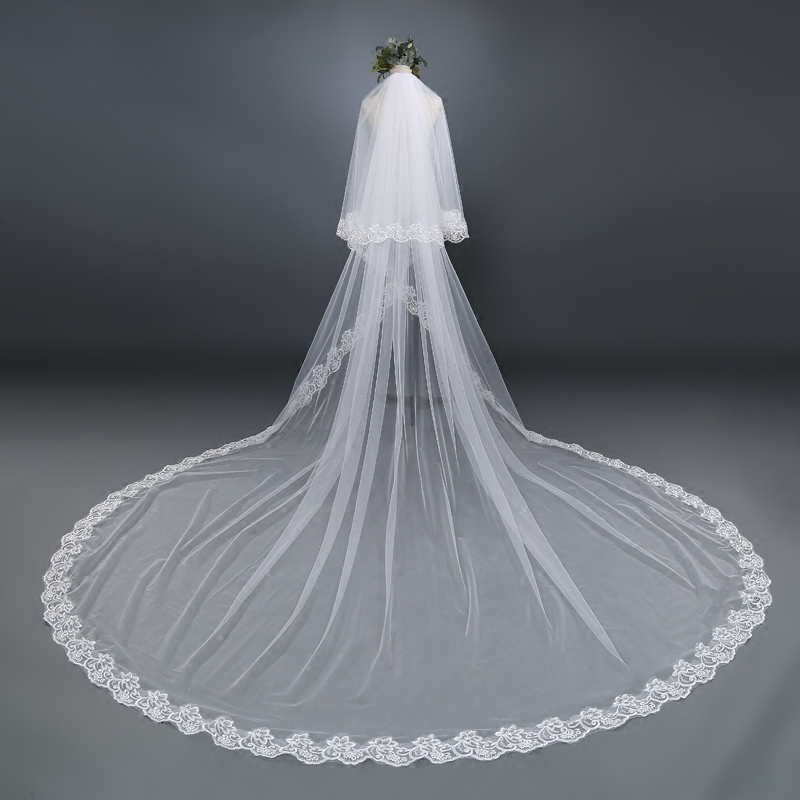 3M 4M 5M White Ivory Long Veil Velo De Novia Catedral Lace Edge Appliqued Wedding Veil With Comb Bridal Veil Voile De Mariee