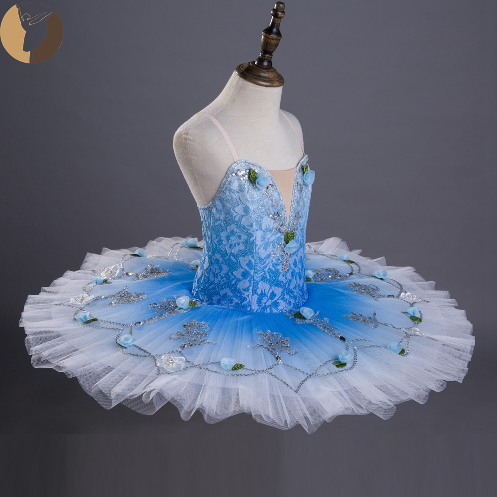 FLTOTURE Lace Pancake Tutu Skirt Child Kids Girl Professional Ballet Performance Competiton Costumes Ballet Flower Fairy Clothes