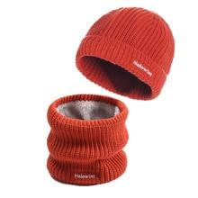 Hat Scarf Scarves-Bandana Winter-Set Child Women Snood Warm Thick Knit Unisex Caps Fur-Collar