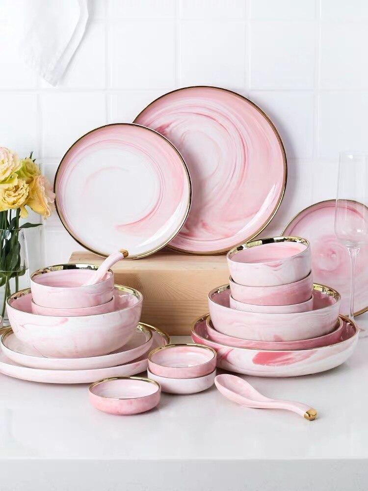 Service d'assiettes à poisson série marbre | Série de vaisselle en céramique rose, haut de gamme 9/18/26 pièces, service d'assiettes à poisson, cuillère à soupe, salade bol de riz baguettes gratuites