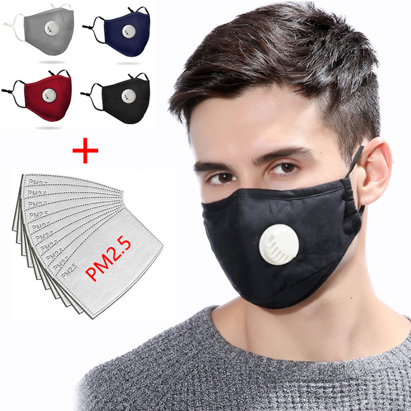 PM2.5 Respirator Face Masks Haze Anti Pollution Air Purifying Reusable Dust Mask 10pcs Filters Easy Breathe Washable Cotton Mask
