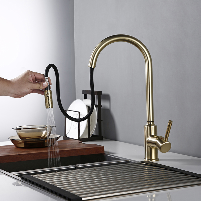 Bagnolux Brushed Gold Brass Kitchen Faucet NEW Premium Gooseneck Pull Out Kitchen Faucet Sink Mixer Tap Solid Brass Construction