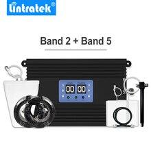 Lintratek AMPLIFICADOR DE señal de teléfono, repetidor potente 3G, 4G, LTE, 850MHz, 1900MHz, conjunto de antena B2 + B5 para gran cobertura