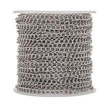 25m/rolo de aço inoxidável soldada curb correntes trançadas com carretel para fazer jóias diy pulseira colar 4x3x0.6mm