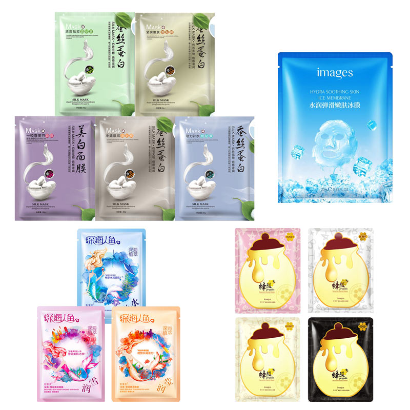 13Pcs IMAGES Silk protein honey fruit ice black face mask Shrink pores Tender skin facial women beauty and health care