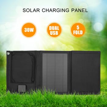 30W składana ładowarka słoneczna z podwójnym 5V podwójnym portem USB Panel słoneczny monokrystaliczny do telefonu komórkowego powerbank do telefonu samochodowego tanie i dobre opinie 30W Foldable Solar Panel
