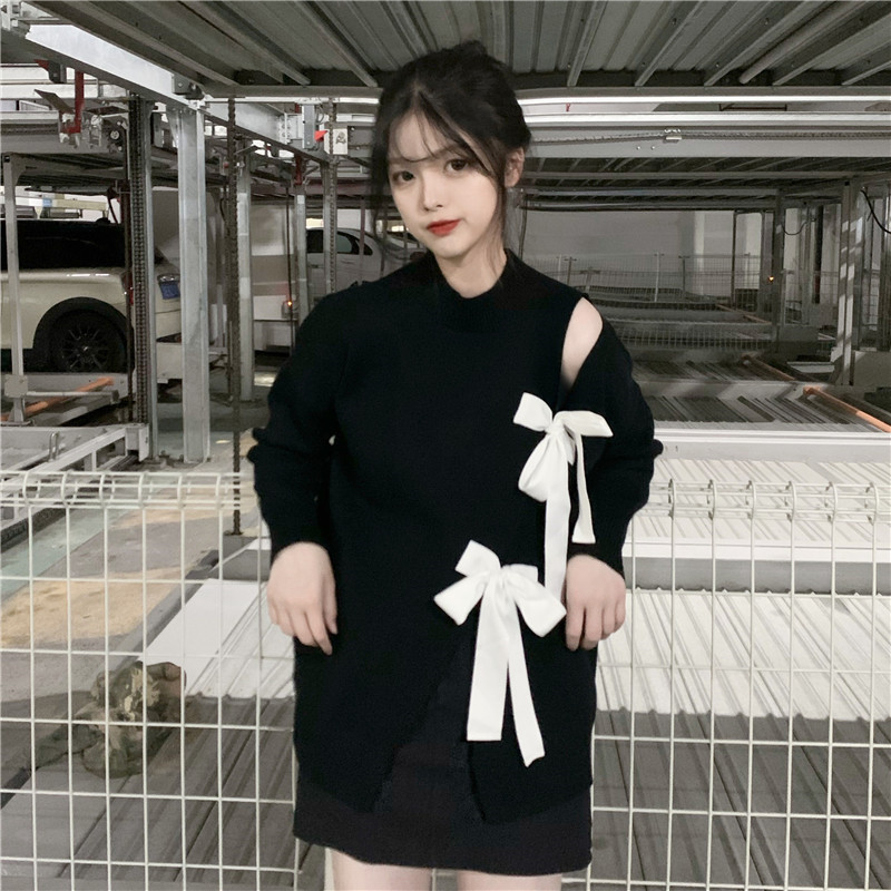 Focal20 Streetwear Solid Color Split Bow Knot Women Sweaters Casual Loose O-neck Female Jumpers Spring Autumn Lady Tops Pullover